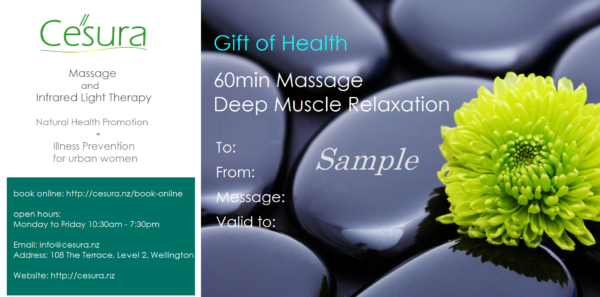 Give the gift of health for yourself and your loved ones! Reduce stress, prevent illness and regain strength with Cesura's massage therapy.