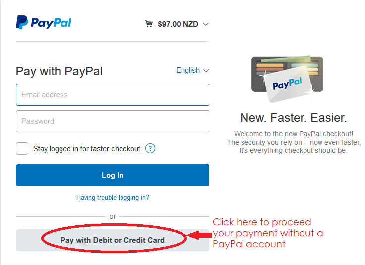 """PayPal has optimized the checkout experience with an exciting improvement to their payment flow. You can complete your payment with your credit or debit card with PayPal without a PayPal account. Signing up for a PayPal account is now optional. When you proceed the payment, please click """"Pay with Debit or Credit Card"""" below log in button and follow the simple procedure."""